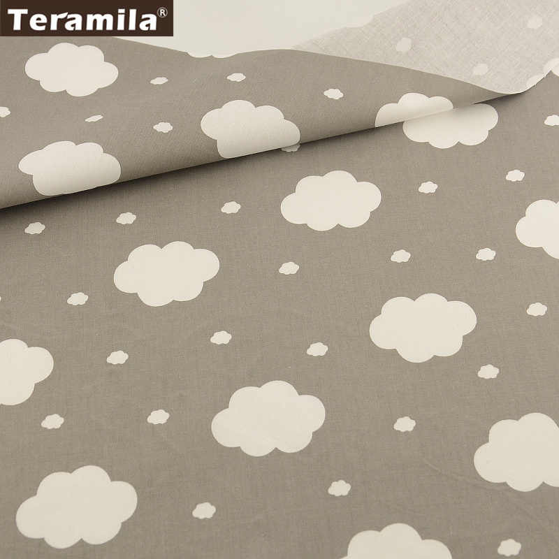 2016 New Arrivals White Clouds Designs Sewing Tissue 100% Cotton Fabric Grey Twill Fat Quarter Material Bed Sheet  Patchwork
