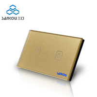 Smart home US standard 2gang 1way touch sensor wall light switch with LED Indicator gold crytal glass panel Cnskou