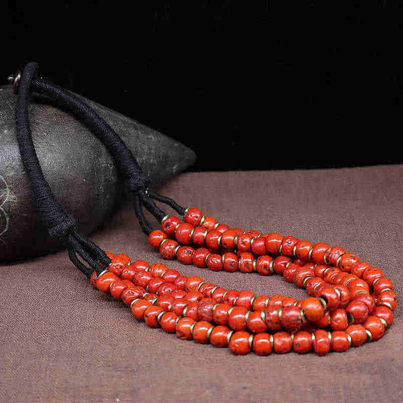 TNL190 Tibetan Ethnic Red Lampwork Glass Beaded Necklace Multi Layers