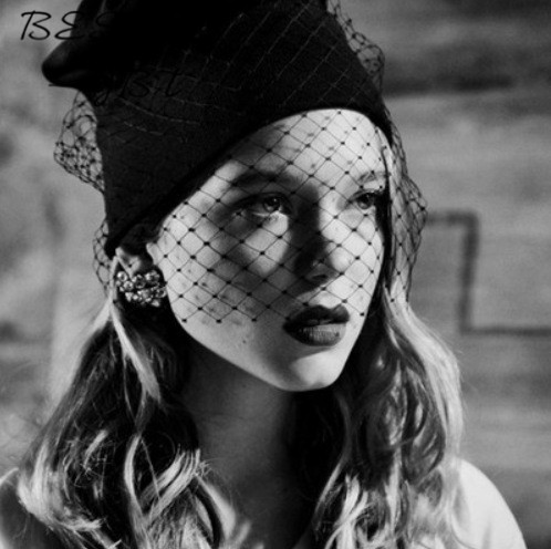 New Wave of Small Fragrant Autumn and Winter Retro High Quality Mesh Veil Hat Knit Wool Cap British Style Hat HOT