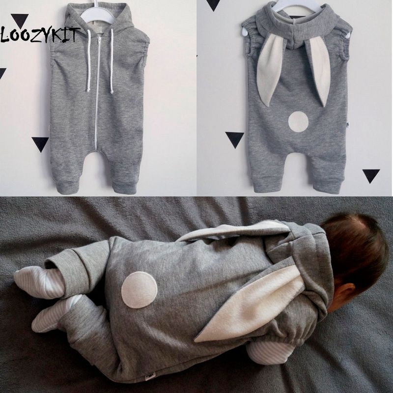 Loozykit Newborn Baby Girl Boy Clothes Cute 3D Bunny Ear Sleeveless   Romper   Jumpsuit Playsuit Autumn Infant   Rompers   One Piece