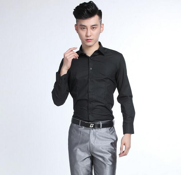 Más el tamaño S-4XL boda del novio 100% algodón negro formales camisas del negocio con bolsillo manga larga hombres camisas de smoking partido Slim Fit