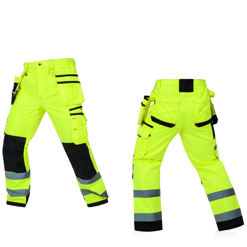 Bauskydd Men Working Pants Reflective High visibility Multi-pockets Work Trousers With Knee Pads Workwear Safety Cargo Pants high quality summer light weight twill durable black cargo work pant long trousers mechanic workwear