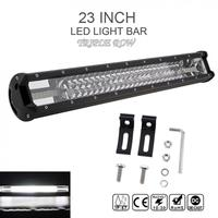 7D 23 Inch 540W Car LED Worklight Bar Triple Row Spot Flood Combo Offroad White Light Driving Lamp for Truck SUV 4X4 4WD ATV