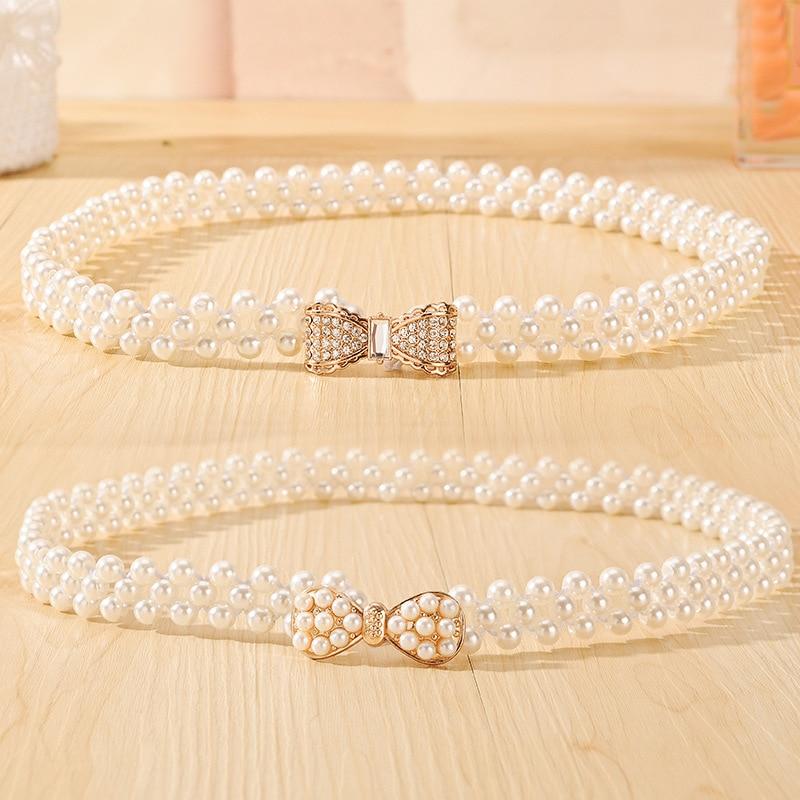 Newly Design Women's Fashion Elegant Faux Pearl Beads Rhinestone Charms Waist Belt Strap Dress Accessories Drop Shipping