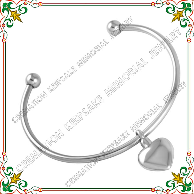 CMB5024 60MM DIY Stainless Steel bracelet jewelry With cremation ash urn heart charms Bangles for women Fashion Jewlery