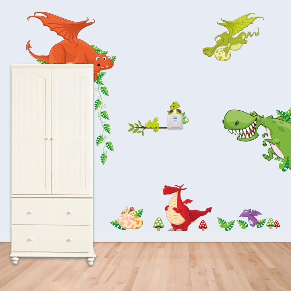 Jungle Wild Dinosaur Lion Monkey Giraffe Cartoon Wall Stickers For Kids Room Animal Funny Children Vinyl Stickers