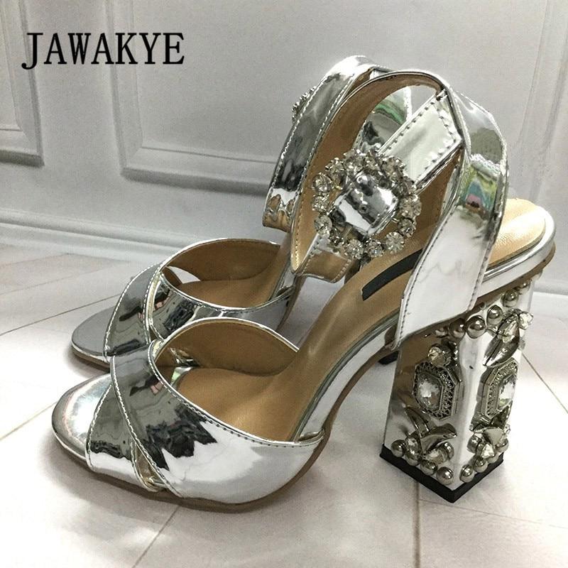 Lujoso cristal metálico tacones altos mujeres sandalias Peep Toe strass hebilla zapatos oro plata boda zapatos mujer-in Sandalias de mujer from zapatos    1
