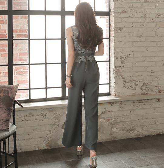 11b22ca8c52d 2018 women Lace Patchwork jumpsuits sleeveless rompers ladies summer Tall  waist womens jumpsuit RQ372-in Jumpsuits from Women s Clothing on  Aliexpress.com ...