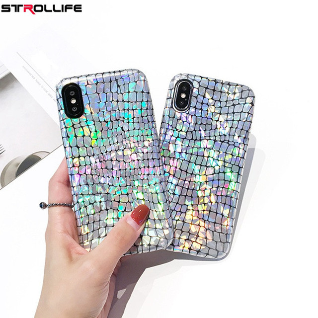 official photos 9c373 6696c US $3.79 |STROLLIFE Fashion Laser Snake Texture Glitter Phone Cases For  iPhone X case Luxury Silver Sequins Shining Back Cover Coque Funda-in  Fitted ...