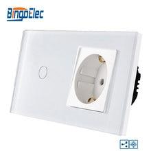 Bingoelec 1 כנופיית 2 דרך מגע Dimmable מתג האיחוד האירופי תקן מזג זכוכית פנל עם 16A גרמניה שקע קיר מתג AC 220 V