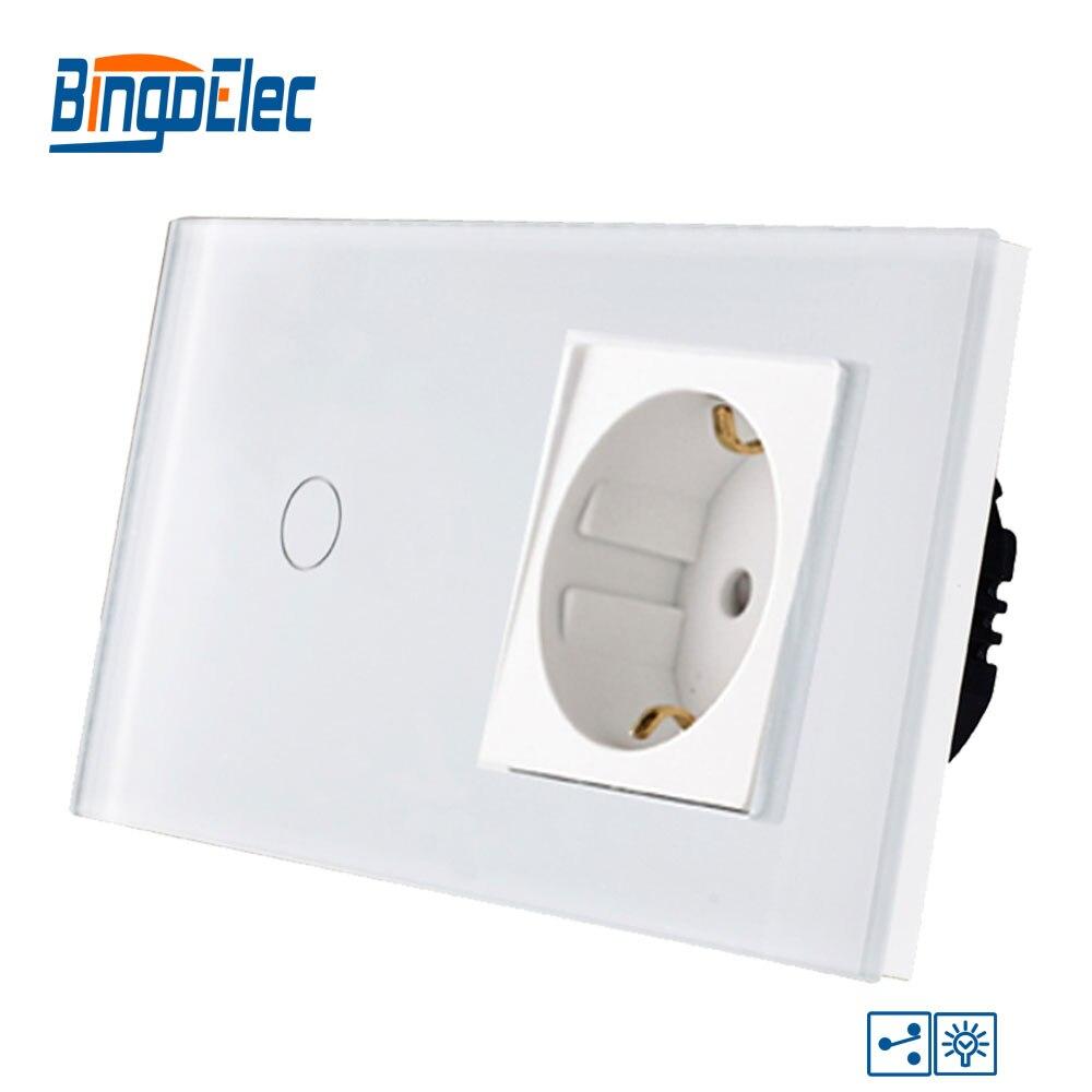 Bingoelec 1 Gang 2 voies tactile interrupteur à intensité variable norme européenne panneau en verre trempé avec 16A allemagne prise interrupteur mural AC 220 V