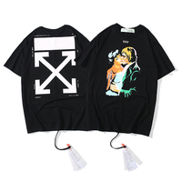 kiss character oil painting 19ss Off White Men/Women Fashion Couple Lovers models Cotton Casual Round neck Short sleeve T shirt