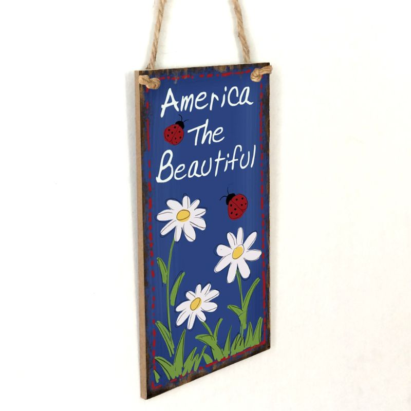 Image 3 - Vintage Wooden Hanging Plaque America The Beautiful Flower Sign Board Wall Door Home Decoration Independence Day Party Gift-in Plaques & Signs from Home & Garden