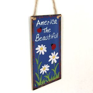 Image 3 - Vintage Wooden Hanging Plaque America The Beautiful Flower Sign Board Wall Door Home Decoration Independence Day Party Gift
