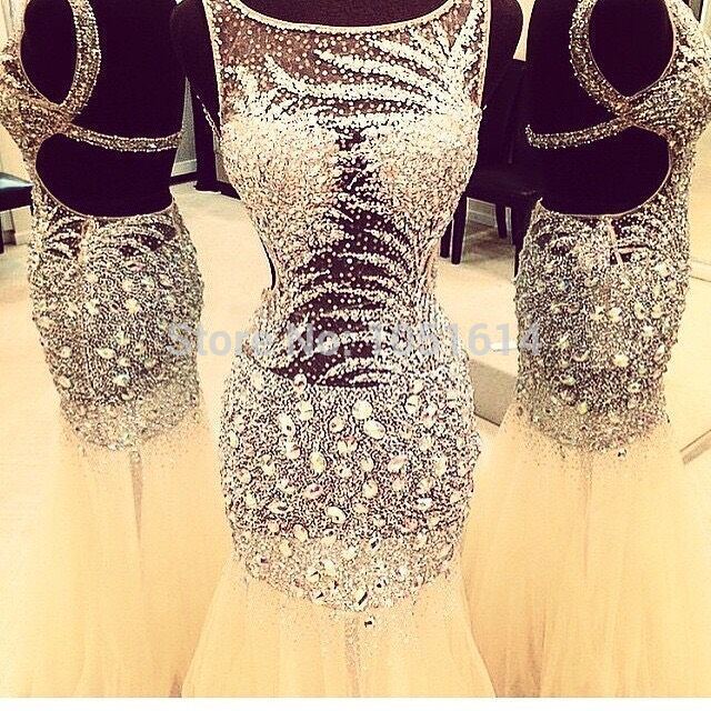 Luxury Real Sample Scoop Neck Open Back Full Silver Beaded Sequins Crystals Long Evening Party White Champagne   Prom     Dress