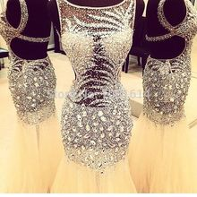 New Arrival Real Sample Scoop Neck Open Back Full Silver Beaded Sequins Crystals Long Evening Party White Champagne Prom Dress xingpulaner a line scoop neck sleeveless tank silver beaded open back long real made evening dress