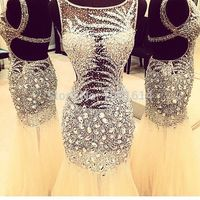 New Arrival Real Sample Scoop Neck Open Back Full Silver Beaded Sequins Crystals Long Evening Party White Champagne Prom Dress