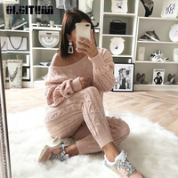 OLGITUM New 2018 Winter and Autumn Fashion Solid Color Women Knitted Set Slash Neck Sweater + Knitted Pants WS079