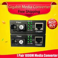 Frete grátis 1 par gigabit fibra óptica para rj45 utp conversor de mídia 1310/1550 fibra para ethernet interruptor fibra