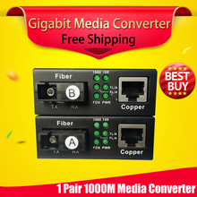 free shipping 1 pair gigabit fibra optical to rj45 UTP media converter 1310/1550 fiber ethernet switch interruptor