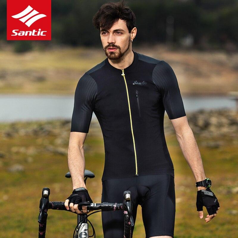 2018 SANTIC Sommer Männer Radfahren Jersey Kurzarm MTB Fahrrad Kleidung für Herren Downhill Kleidung Schwarz Tops Jersey Atmungsaktiv - 2