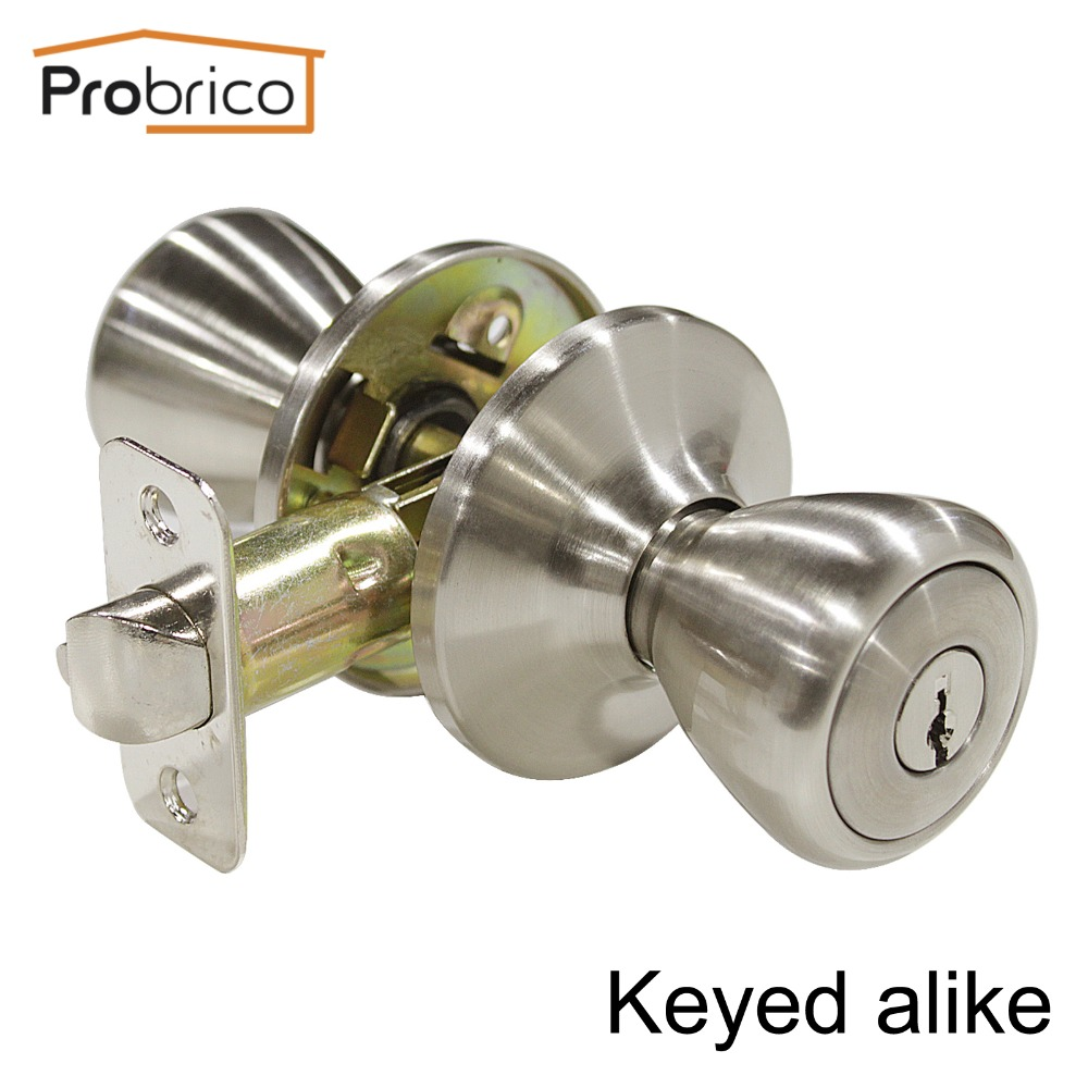 Probrico 10 PCS Keyed Alike Door Lock Stainless Steel Safe Lock Security Satin Nickel Door Knob Entrance Locker master lock m5xd magnum keyed padlock
