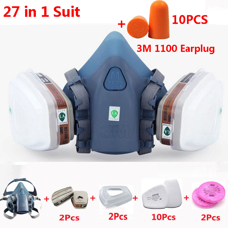 <font><b>3M</b></font> 7502 Half Face Gas Mask 27 In 1 Suit Chemcial Industry Spray Paint Respirator Safety Work Mask With <font><b>3M</b></font> <font><b>1100</b></font> Earplug image