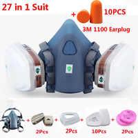3 M 7502 Mezza Viso Gas Maschera 27 In 1 Vestito Chemcial Industria Vernice Spray Respiratore di Sicurezza del Lavoro Maschera Con 3 M 1100 Auricolare