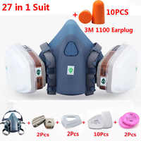 3M 7502 Half Face Gas Mask 27 In 1 Suit Chemcial Industry Spray Paint Respirator Safety Work Mask With 3M 1100 Earplug