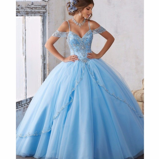 fc08ff9e7e2 Princess Sky Blue Puffy Ball Gowns For Sweet Girls Shiny Crystal Organza  Long Formal Party Dress Beaded Gowns Prom Abendkleider