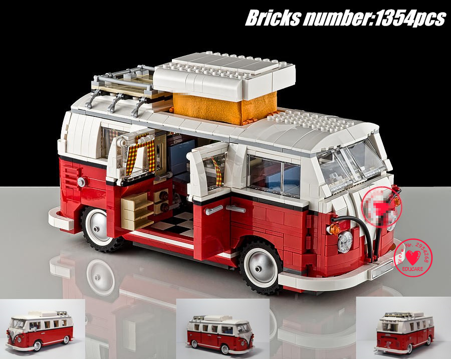 NEW 1354Pcs Creator Volkswagen T1 Camper Van car fit legoings technic Model Building block Bricks Toys 10220 gift kid set boy hand made tin model retro classic volkswagen camper van craft desktop display quality art work home decoration kid toy gift