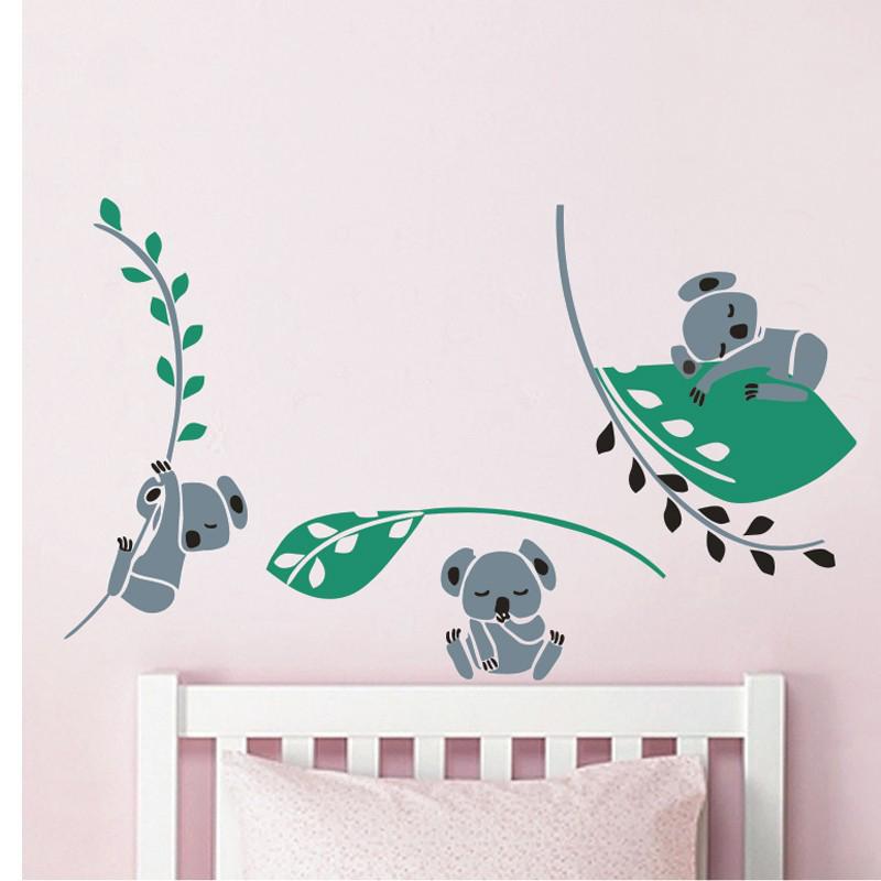 awoo tres koala rbol hojas rama tatuajes de pared etiqueta de la pared pegatinas de pared