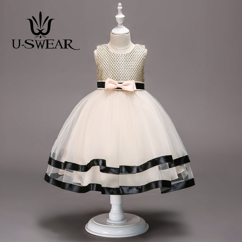 U-SWEAR 2019 New Arrival Kid   Flower     Girl     Dresses   O-neck Sleeveless Bow Ribbon Stripe Mesh Ball Gown   Flower     Girl   Pageant   Dresses