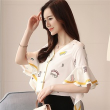 Women's Blouse Printed V-neck Chiffon Blouse Women Summer Fashion Trumpet Sleeve Shirt Womens Tops and Blouses tiered trumpet sleeve pearl embellished blouse