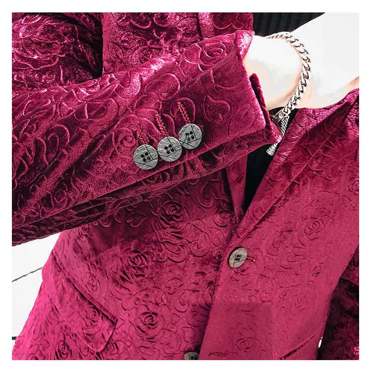 Мужская шаль лацкан цветочный дизайн блейзера плюс размер 5XL черный бархат красные цветы костюм с пайетками куртка диджейский клубный сценический певица одежда