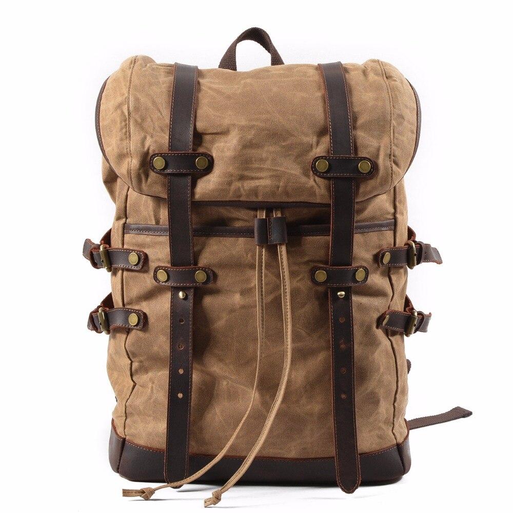 15.6&Quot; Laptop Backpack Vintage Large Capacity Oil Wax Waterproof Backpacks Teenager Canvas Leather Drawstring Rucksacks