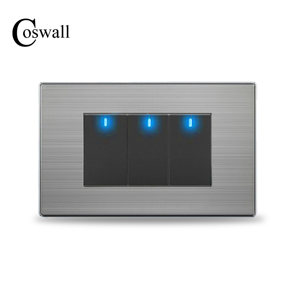 COSWALL US Standard 3 Gang 2 Way Light Switch With LED Indicator Push Button Wall Switch Stainless Steel Panel 118mm * 72mm 2017 free shipping smart wall switch crystal glass panel switch us 2 gang remote control touch switch wall light switch for led