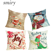 Smiry Comfortable Animals Lovely Snowman Christmas Pillow Cases Cartoon Santa Claus Snowflake Character Cushion Cover For