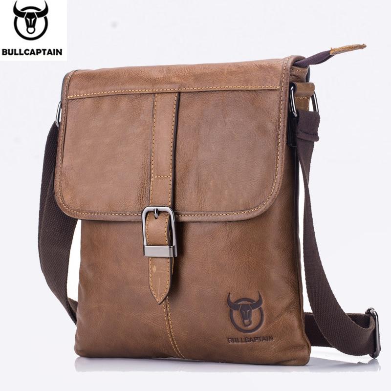 BULLCAPTAIN 2019 hommes sac en cuir véritable homme nouveau sac à bandoulière hommes petits sacs d'affaires hommes Messenger sacs en cuir 034