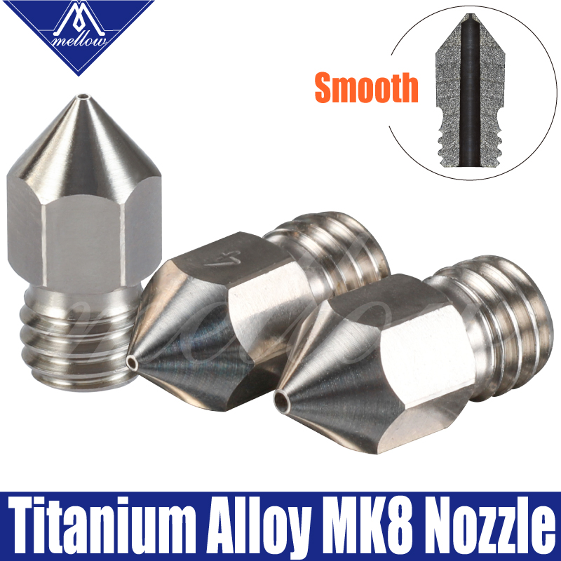 Free Shipping Mellow All-Metal MK7 MK8 Titanium Alloy M6 Threaded Nozzle TC4 For 1.75mm 3D Printer Extruder Hotend Part