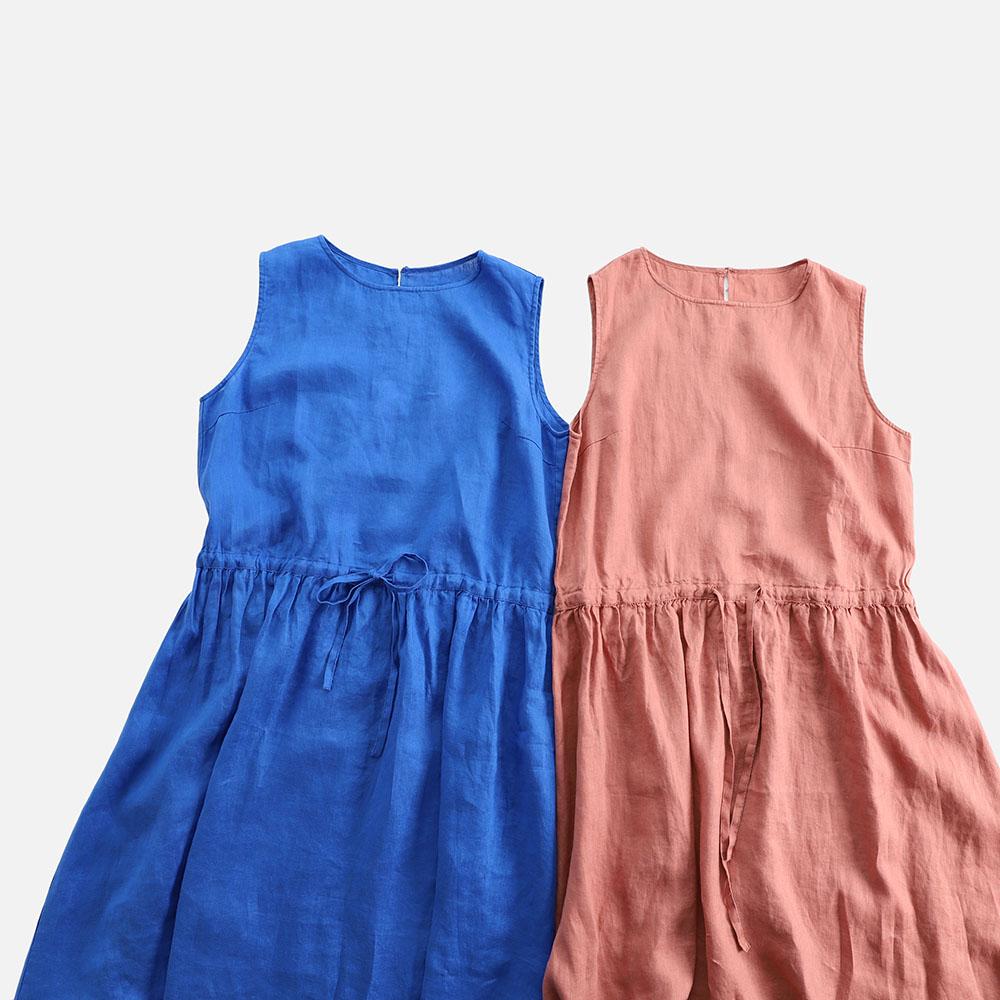 Summer Women Loose Japanese Style Mori Girls Drawstring Waist Comfortable Water Washed Thin Linen Sleeveless Tank