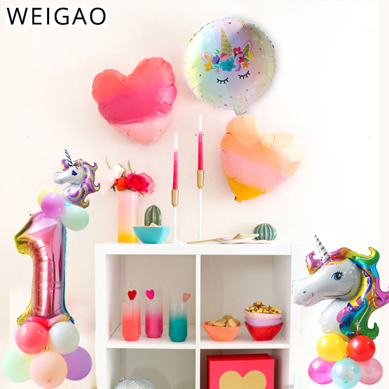 Weigao 32inch Iridescent Rainbow Color Number Foil Balloons