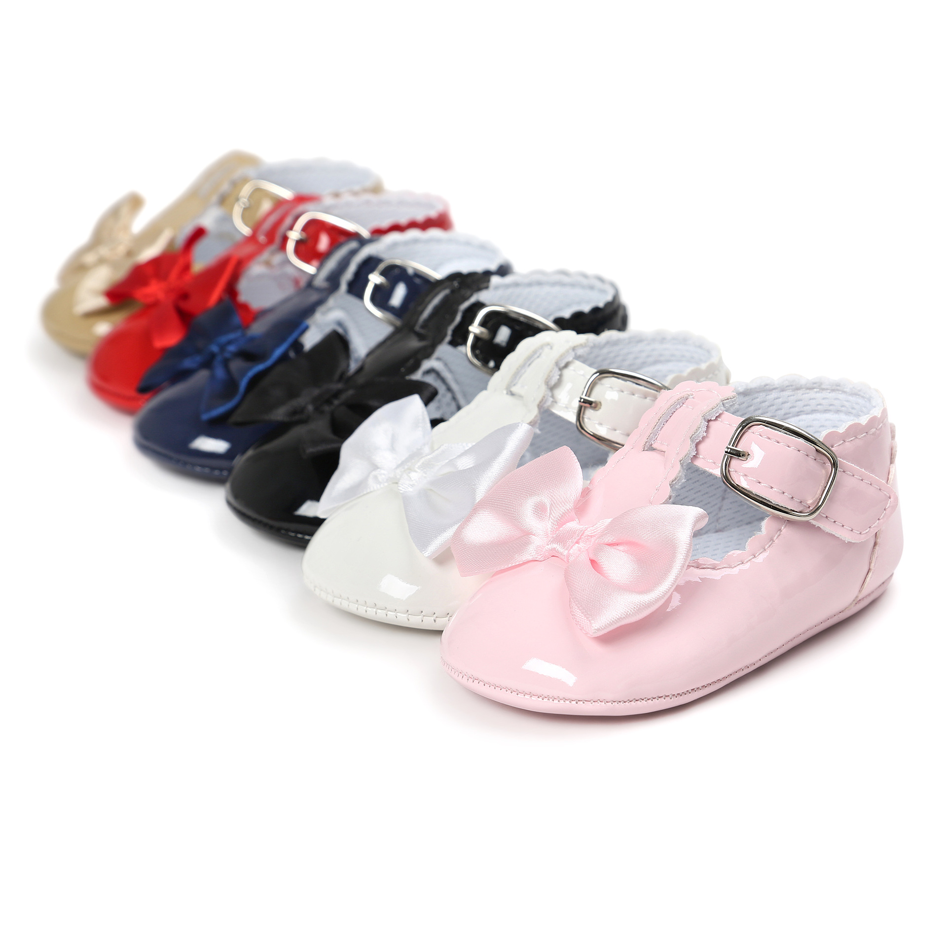 Spring Pink Bow-Knot Baby Shoes Girl Infant Shoes Flowers Princess Toddler Shoes First Walkers