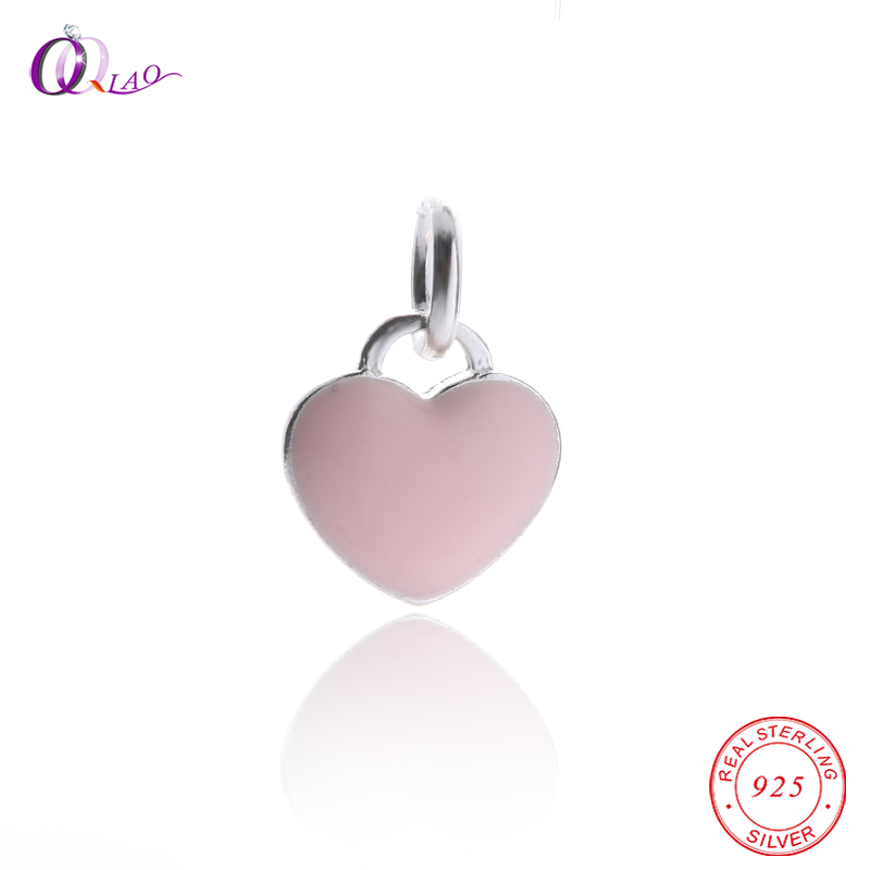 1PCS 925 Sterling-Silver Epoxy craft Love heart Pendant for silver Women Jewelry making Necklace bracelet DIY, jewelry findings