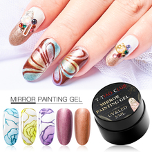 T-TIAO CLUB Metallic Color Nail Gel Polish Painting Flowers Drawing Varnish Gold Silver Mirror Glitter UV Manicure Lacquer
