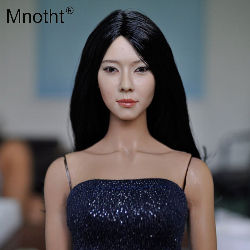 Mnotht Toys Head 1/6 Female Head Sculpt KM13-23 Girl Head Carving Model With Long Hair Fit 12 Action Figure Doll Body Toys m3 1 6 soldier clothes death game bruce lee suit head carving fit 12collectible doll toys accessories