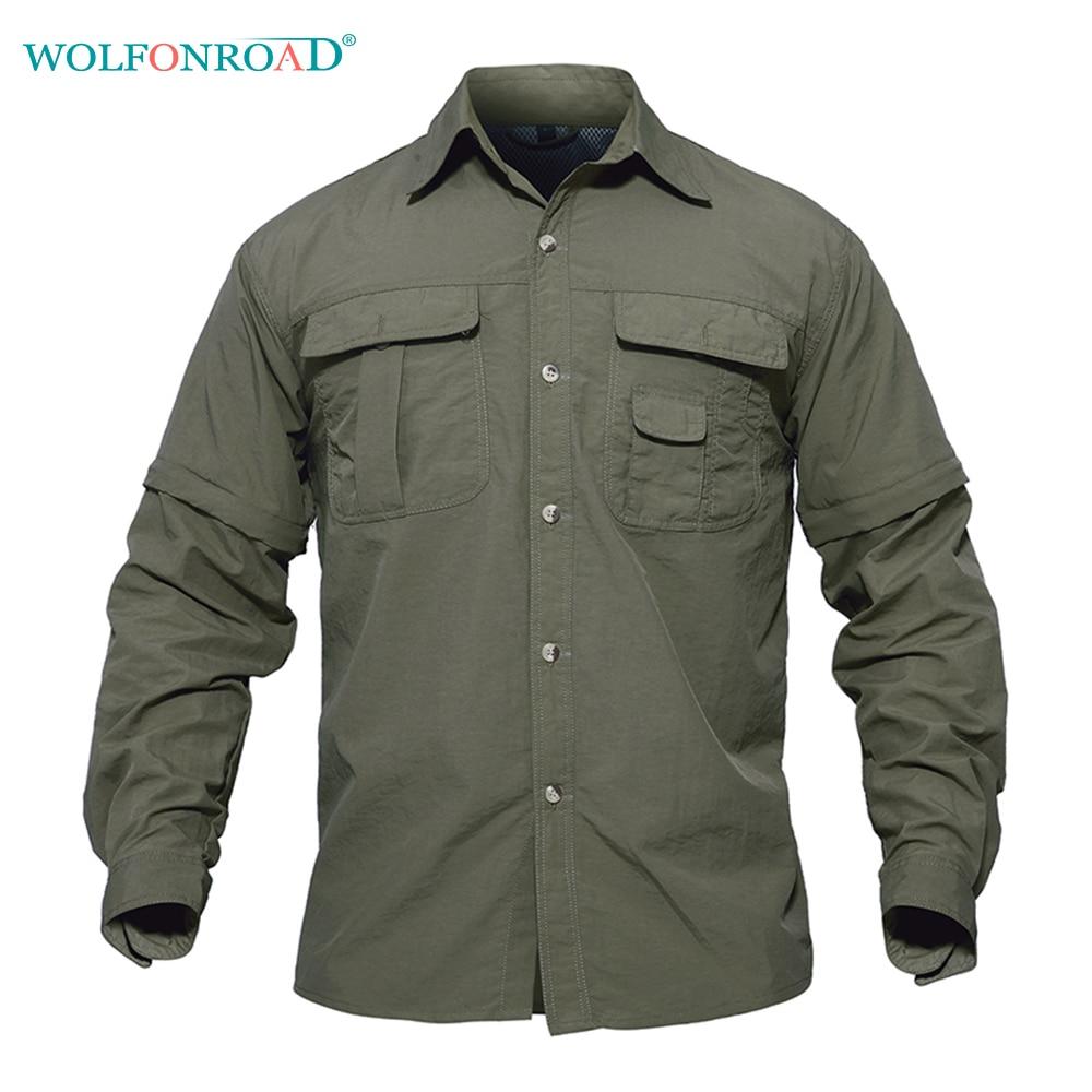 Prix pour WOLFONROAD Hommes de Chemise En Plein Air Rapide Séchage Chemise Amovible Randonnée T-shirt Militaire Tactique Chemise Tir Chasse Tee Shirts