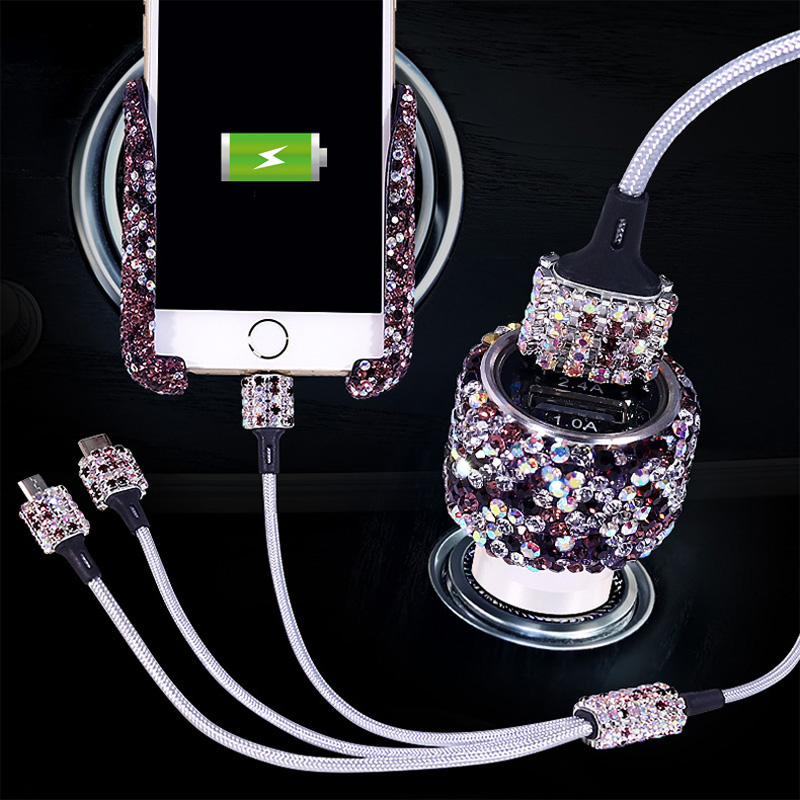Universal Car Phone Holder With Bling Crystal Rhinestone Car Air Vent Mount Clip Dual USB Fast Car Charger 3 in 1 Charger Cable|Universal Car Bracket| |  - title=