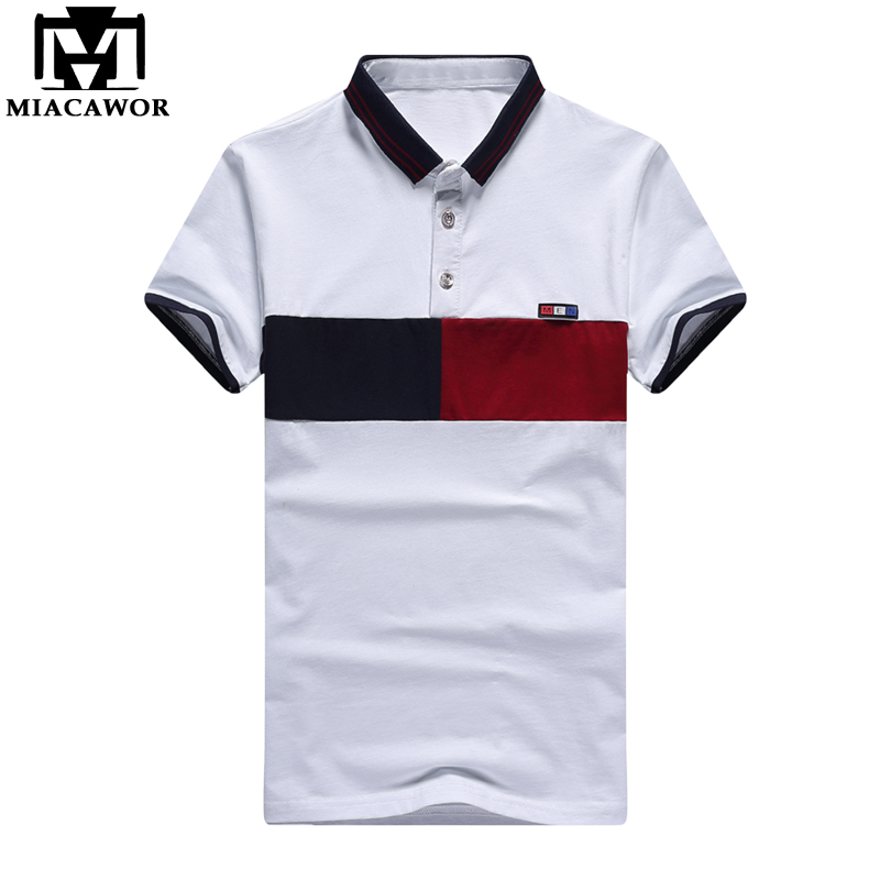 MIACAWOR New Fashion Patchwork Men   Polo   Shirt High Quality Cotton   Polo   Homme Slim Fit Short-sleeve Camisas   Polo   MT616